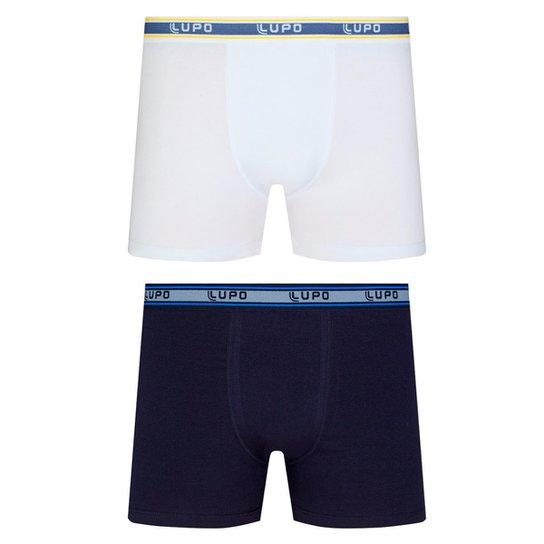 26abfb99a2a09e Kit Com 2 Cueca Lupo Boxer Masculino - Branco e Preto