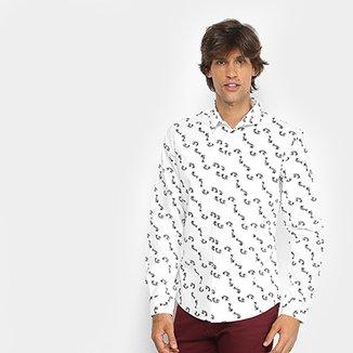 99a303f172a5d Camisa Manga Longa Colcci Slim Estampa Peixes Masculina