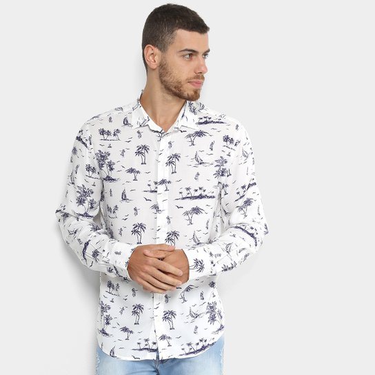 3f94668683fe8 Camisa Colcci Manga Longa Slim Masculina - Branco e Preto - Compre ...