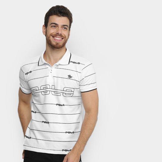 62cb2b6986 Camisa Polo em Piquet Estampada Polo RG 518 Manga Curta Masculina -  Branco+Preto