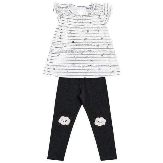 09e0808c04d6f Conjunto de Blusa + Calça Legging Infantil Fakini Feminino - Branco+Preto