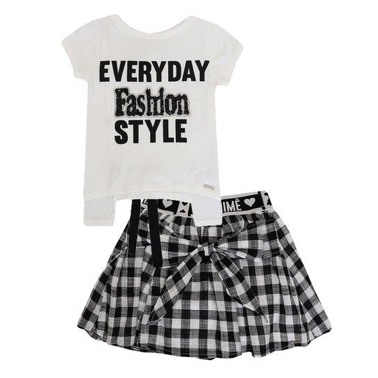 7e86fd05d4094 Conjunto Infantil Blusa e Saia Xadrez Fashion Anime Feminino - Branco+Preto