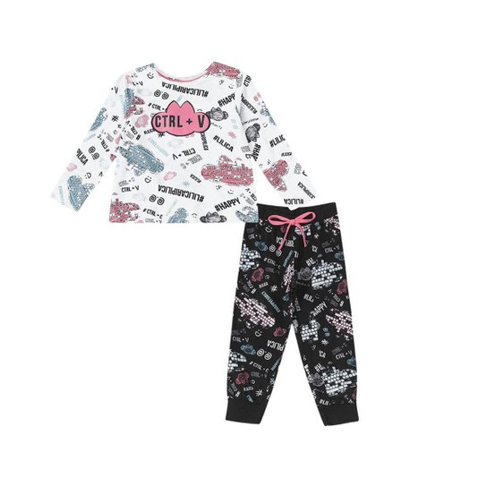 f0a49ce571 Pijama Tal Mãe Tal Filha Bebê Lilica Ripilica Feminino - Branco+Preto