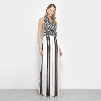 581be2491 Vestido Longo Estampado Lez a Lez Frente única Feminino