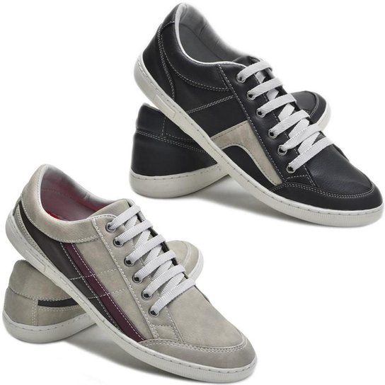 a21418f1aa Kit 2 Pares Sapatênis Dec Shoes Tênis Casual Masculino - Cinza+Preto