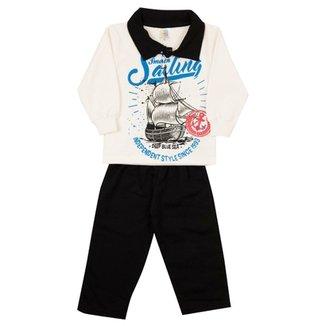 Conjunto Infantil Longo Jidi Kids Blusa Pólo Sailing e Calça Moletom  Masculino a3318636654