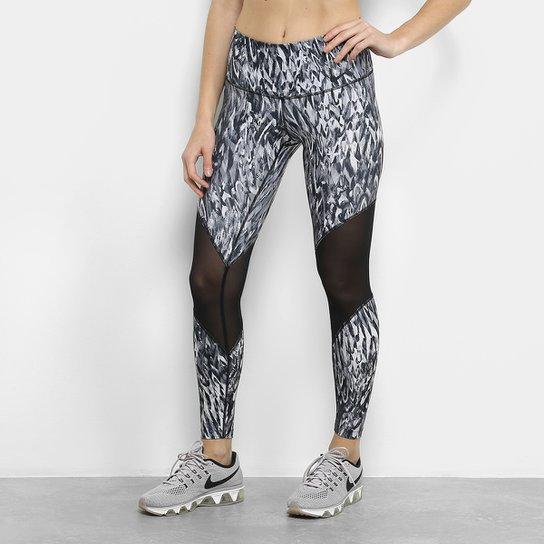 Calça Legging Nike High Rise Printed Tight Feminina - Cinza e Preto ... c8d59d605392a