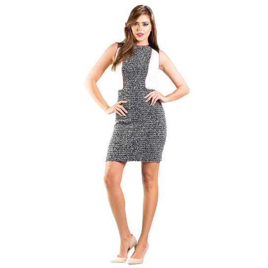 fe5847b6f Vestido Tweed Detalhe em CouroRecortes Lume - Branco e Preto   Zattini
