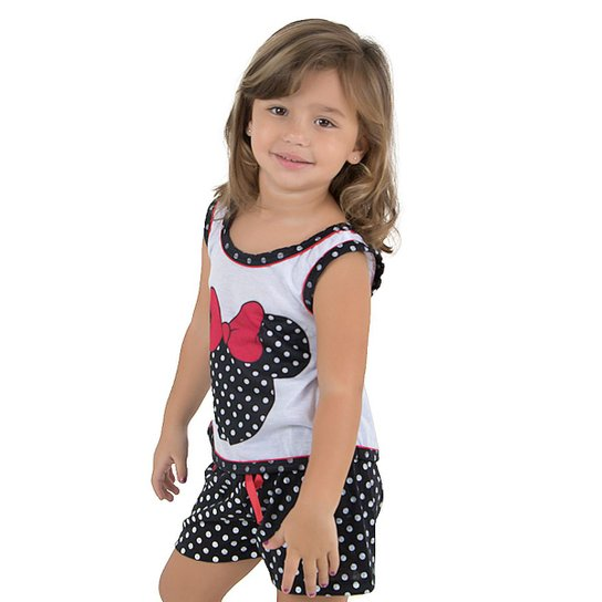 2e1edc053caa3e Baby Doll de Malha Infantil Linha Noite Feminina - Branco e Preto