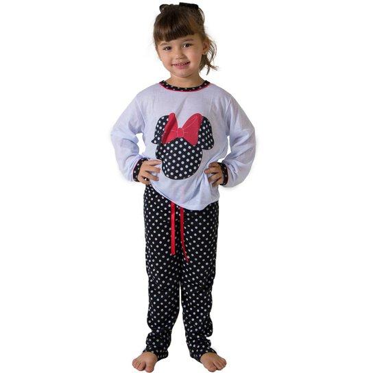 8b6b231fd4a64c Pijama de Malha Infantil Linha Noite Longo Feminina - Branco e Preto