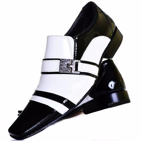 62cff89b5 Sapato Social Envernizado Gofer Couro - Branco e Preto - Compre ...