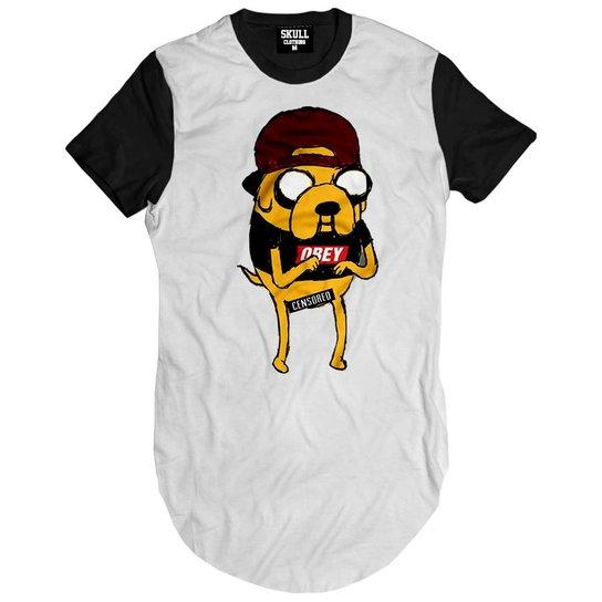 Camiseta Skull Clothing Longline Jake Swag Adventure Masculina -  Branco+Preto d9b20820241