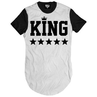 4bc6115b4 Camiseta Skull Clothing Longline King Black Masculina