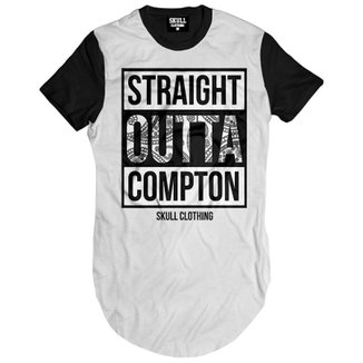 4ec68f3eb4d70 Camiseta Skull Clothing Longline Straight Outta Compton Masculina