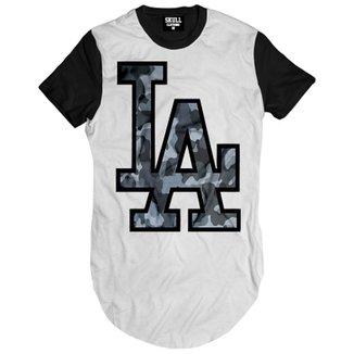 Camiseta Skull Clothing Longline LA Camuflado Masculina bb97f30960d