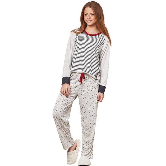 99c22444b6b9e7 Pijama Infantil Longo Luna Cuore Feminino - Branco e Preto