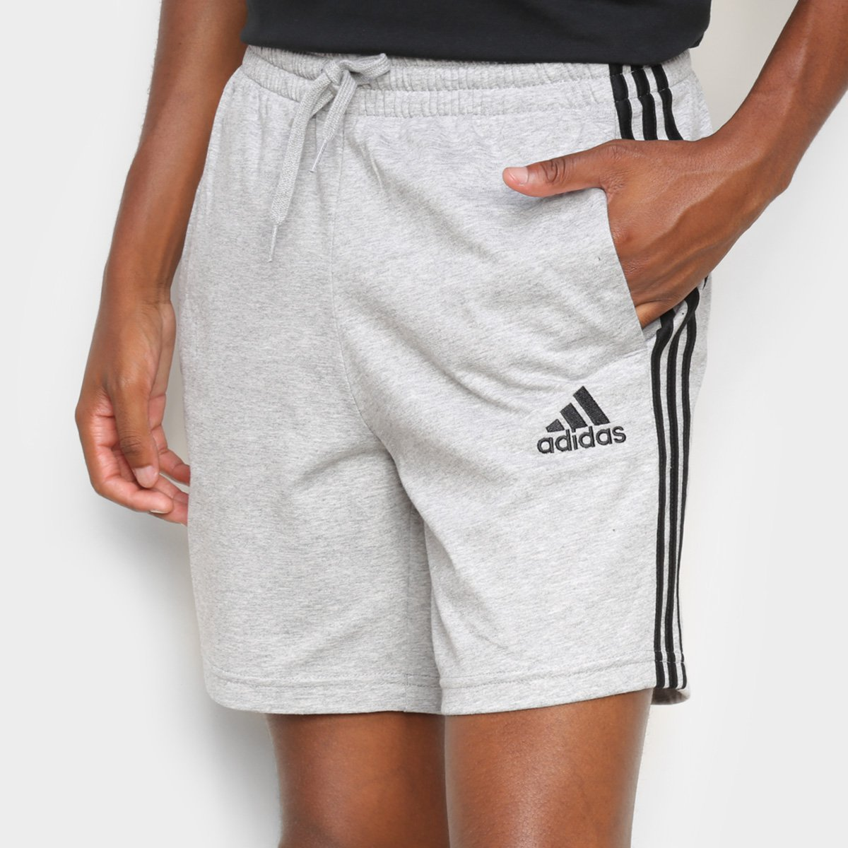 Short Moletom Adidas Casual 3 Listras Masculino