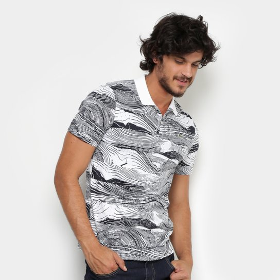 ae094639fb770 Camisa Polo Lacoste Live Jersey Full Print Regular Fit Masculina - Branco+ Preto