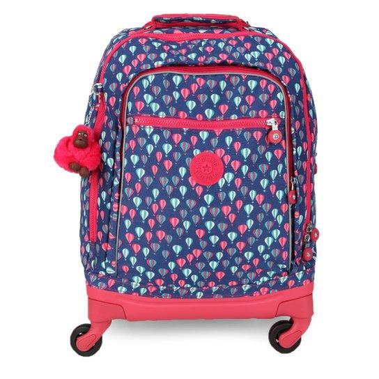 a923f66dd Mochila de Rodinhas Kipling Echo Estampada Feminina - Azul+Pink