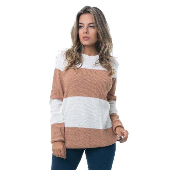 7768021c8c Blusa Tricot PKD Com Listras Feminina - Caramelo e Off white