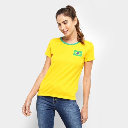 aabd863fb0 Camisa Brasil Torcedor Feminina - Amarelo - Compre Agora