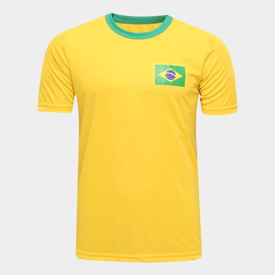 0a4ee2b3bb Camisa Brasil Torcedor Masculina - Amarelo - Compre Agora