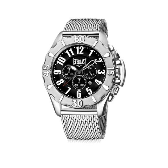 ea516f77095 Relógio de Pulso Everlast Analógico Cx Pulseira Aço Silicone - Prata+Preto