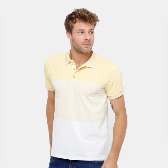 3f2c1b74b4 Camisa Polo Reserva Piquet Degradê Mesclado Masculina - Amarelo