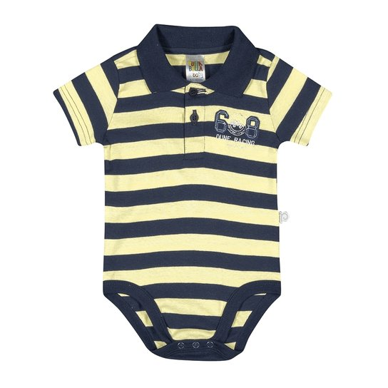 62d3aa650 Body Listrado Bebê Menino Ribanas - Amarelo