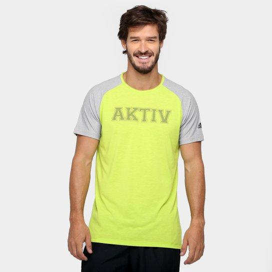 878275aca8912 Camiseta Adidas Aktiv Manga Longa Masculina - Verde Claro+Cinza