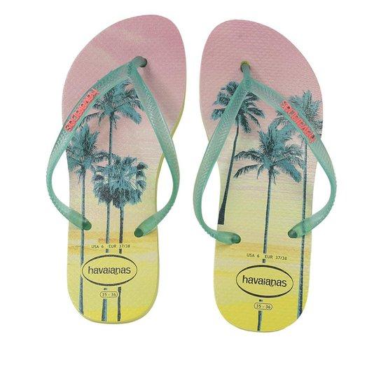 3a949b9841 Chinelo Havaianas Slim Paisage Feminina - Amarelo