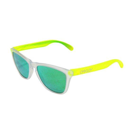 1b208f881 Óculos Oakley Frogskins Matte Clear / Lente Jade Iridium - Amarelo