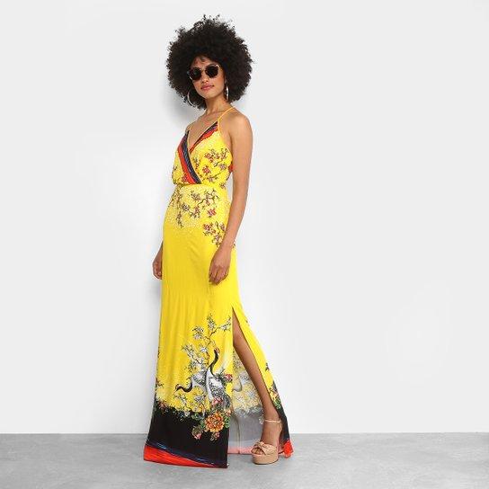 930c28428 Vestido Longo Colcci Fenda Estampado - Amarelo   Zattini