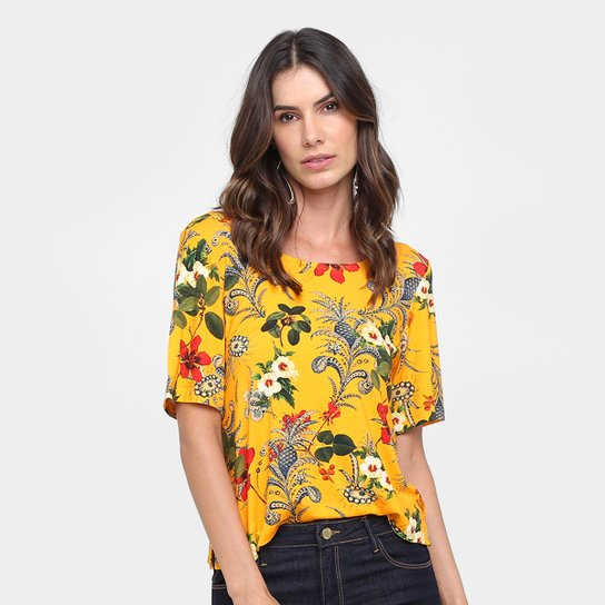 66555aafb7 Blusa Cantão Estampada Feminina - Amarelo