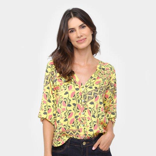 Camisa Malwee Floral Manga 3 4 Feminina - Compre Agora   Zattini 37490fd315