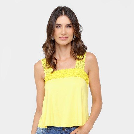 dd71193fd0 Blusa Malwee Alça Guipir Feminina - Amarelo