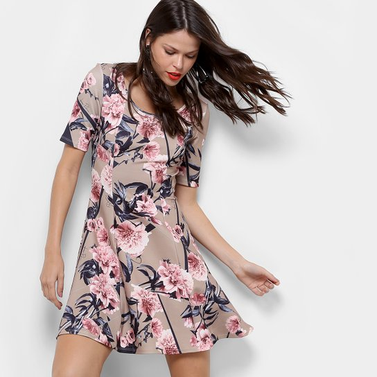 d3bbd5edb Vestido Lança Perfume Evasê Curto Floral - Bege+Rosa