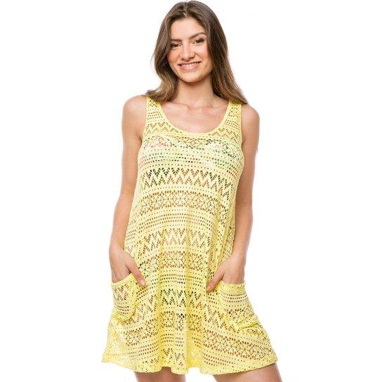 41f55f5f8ddb Saída de Praia Vestido Curto Com 2 Bolsos - Amarelo | Zattini