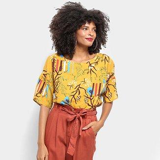 a2eb6f17f4 Blusa Top Moda Alongada Floral Feminina