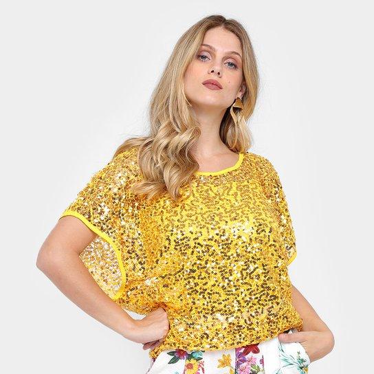 faf0b2c9cf Blusa Heli Fashion com Lantejoula Feminina - Amarelo