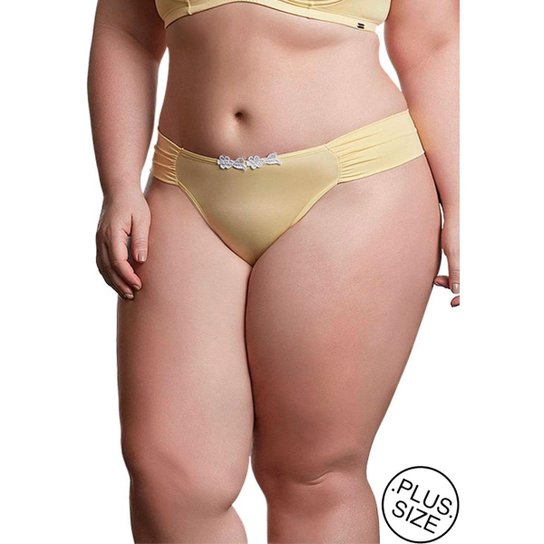 ed30c96f5 Calcinha Plus Size Dukley Lingerie Detalhes em Guipir Feminina - Amarelo