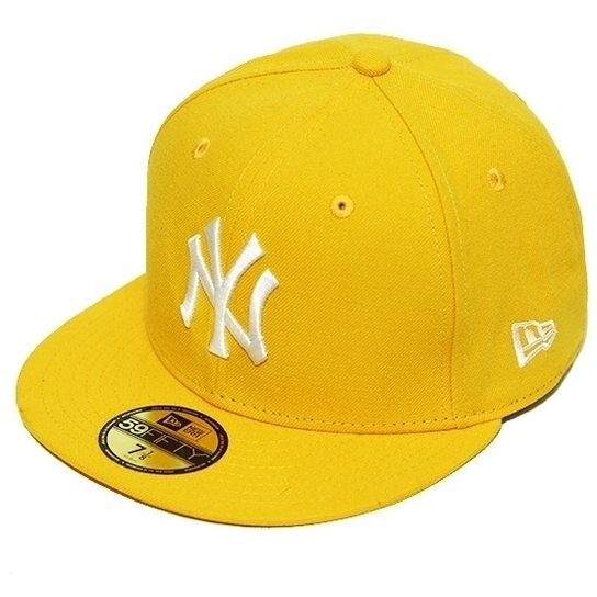 e1d96a6bf6920 Boné New Era Aba Reta Fechado Mlb Ny Yankees Basic - Amarelo ...