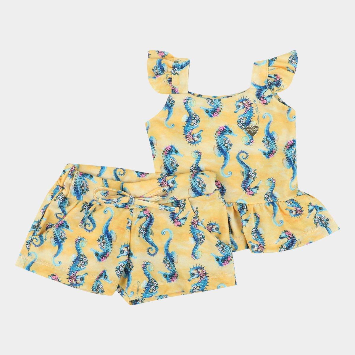 Conjunto Infantil Costão Blusa Babado+Shorts Estamapado Feminino