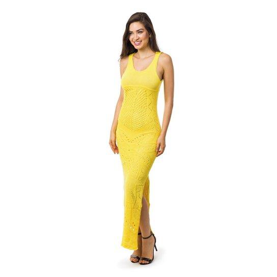 f4dafed8c8 Vestido Pink Tricot Longo Decote nas Costas e Fendas Laterais Feminino -  Amarelo