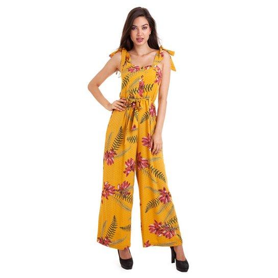 Macacão Kinara Viscose Estampado Feminino - Amarelo - Compre Agora ... fad412e2864