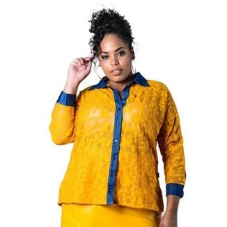 8e74274564 Camisa Plus Size de Renda Lenner Plus Feminina
