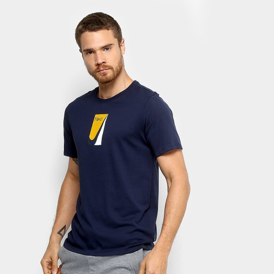 Camiseta Nike M Sb Color Block Masculina - Marinho+Amarelo db15d97ce59