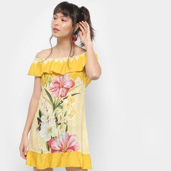 2eaf95fa0 Vestido Farm Curto Evasê Ciganinha Estampado - Amarelo | Zattini