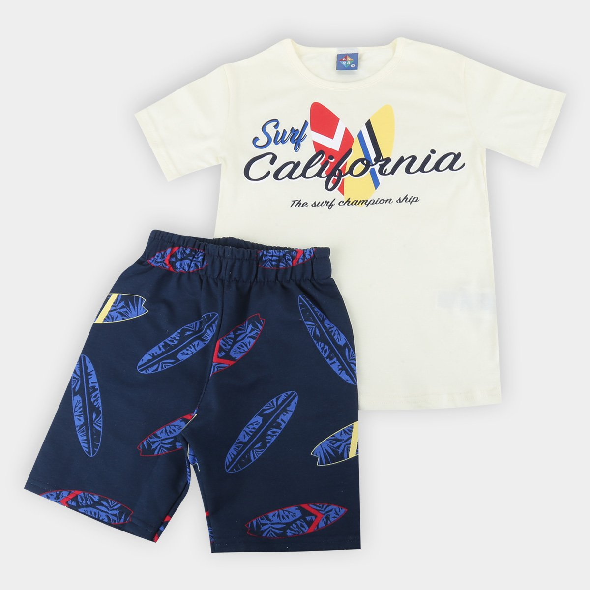 Conjunto Infantil Pipa Camiseta Surf California e Bermuda Moletinho Prancha Masculino