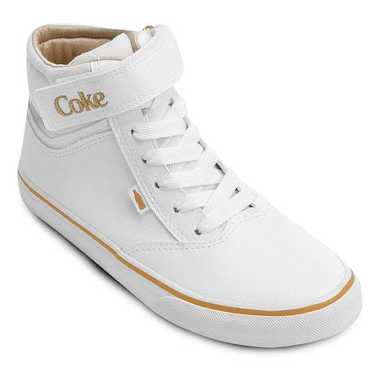 98f2f7b94 Tênis Cano Alto Coca-Cola Mika New - Branco e dourado | Zattini